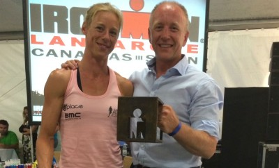 3rd Place Corinne Abraham and Alex Drummond at the awards ceremony Ironman Lanzarote 2014